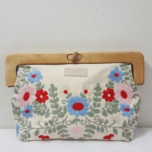 Apple & Bee Organic Embroidered Clutch